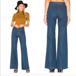 FP FLARE WIDE LEG JEANS Ray of sunshine Sz 26